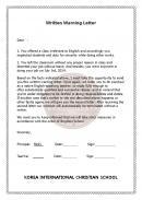 (영문) Written Warning Letter(국제 기독교 학교우편 경고장)